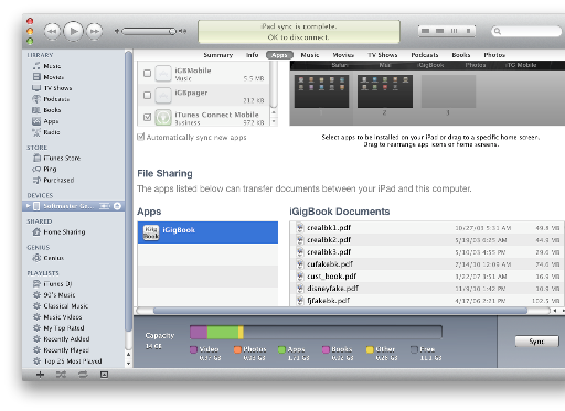iTunes File Transfer Section Screen Shot